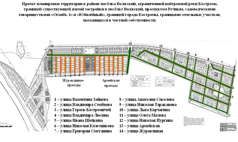 Схема расположения новых улиц